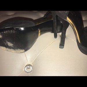 Gucci Shoes - Gucci Black Suede Gold Toe T-Strap Heels 37